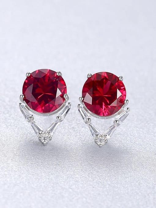 Red 23C05 925 Sterling Silver Cubic Zirconia Geometric Minimalist Stud Earring