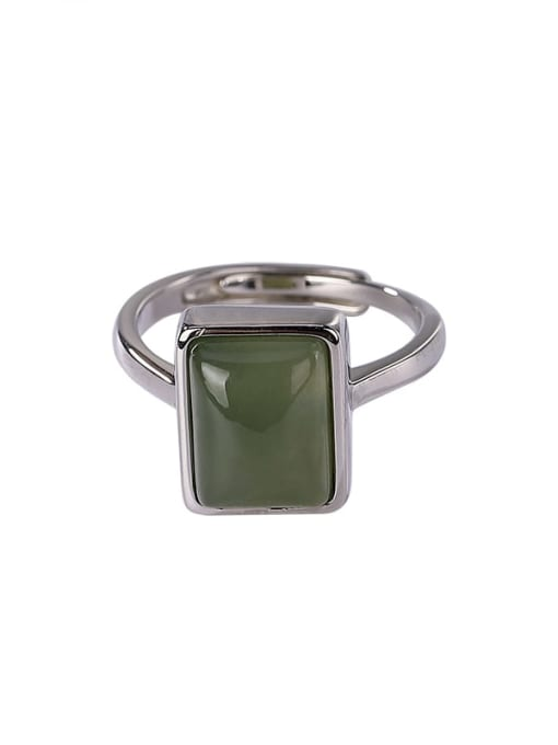 DEER 925 Sterling Silver Jade Geometric Vintage Band Ring 3