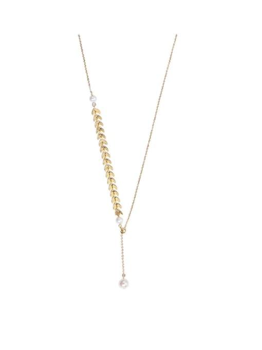 golden Brass Freshwater Pearl Irregular Wheat Minimalist Lariat Necklace