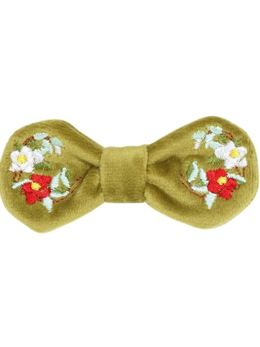 3 seaweed green velvet and peony hairpin Alloy  Fabric Cute Bowknot Hair Barrette
