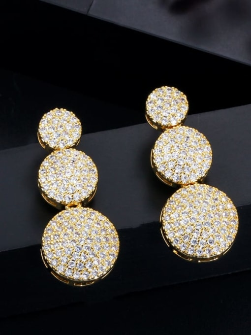 L.WIN Brass Cubic Zirconia Luxury Geometric  Bangle Earring and Necklace Set 3