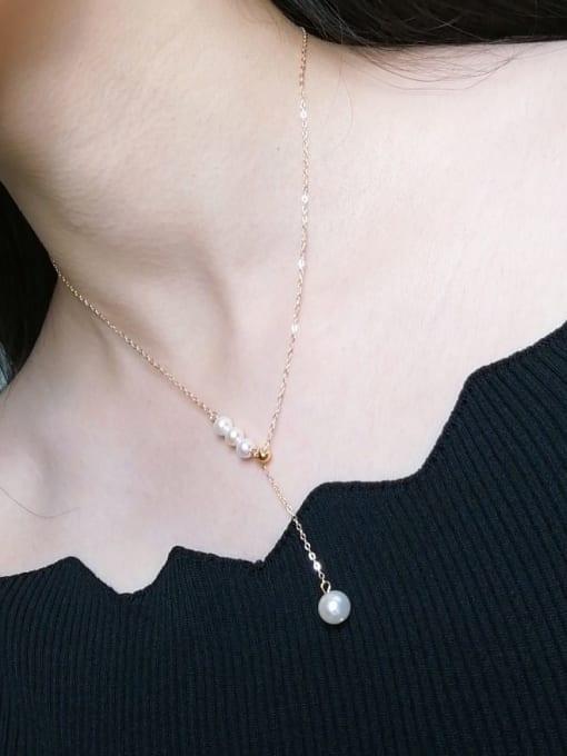 RAIN Brass Freshwater Pearl Tassel Vintage Lariat Necklace 2