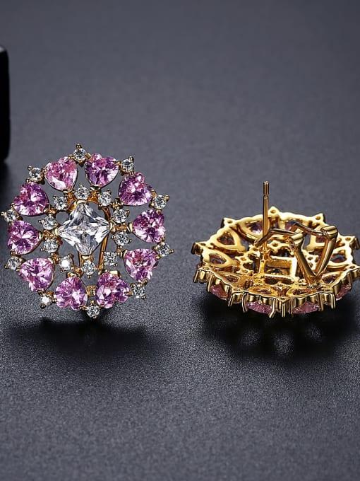 BLING SU Brass Cubic Zirconia Flower Vintage Stud Earring 3