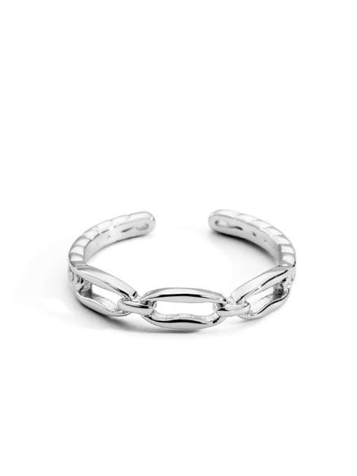 Platinum chain ring Brass Cubic Zirconia Geometric Vintage Band Ring