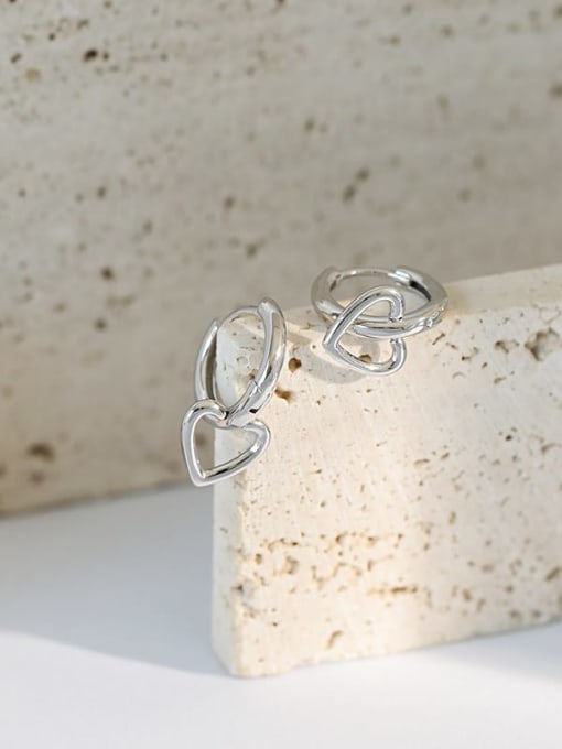 DAKA 925 Sterling Silver Smooth Heart Minimalist Huggie Earring 1