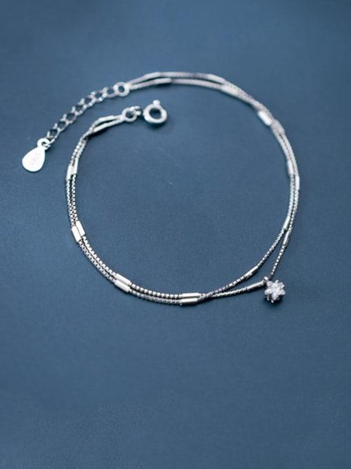 Rosh 925 Sterling Silver  Fashionable simple single diamond double chain   Bracelet 2