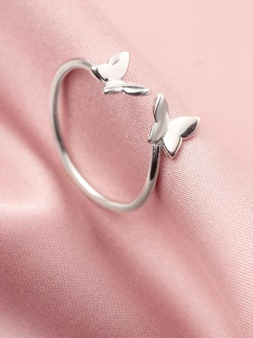 Rosh 925 Sterling Silver  Smooth  Butterfly Minimalist Band Ring 2