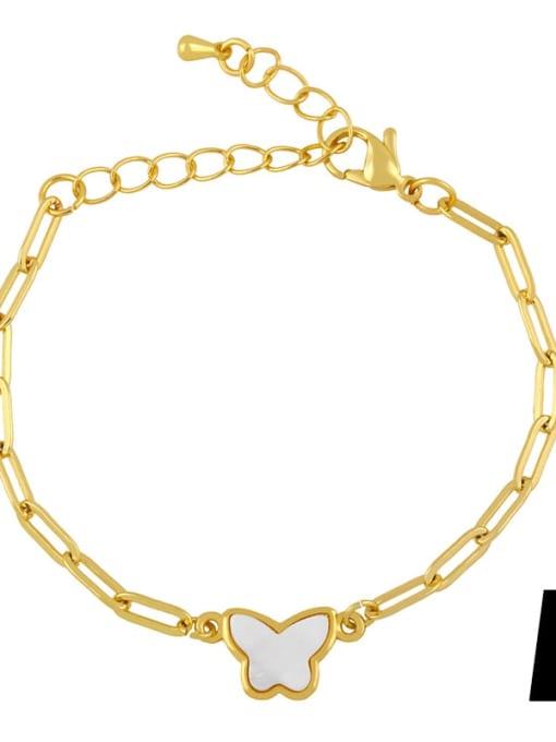 A Brass Shell Butterfly Minimalist Adjustable Bracelet