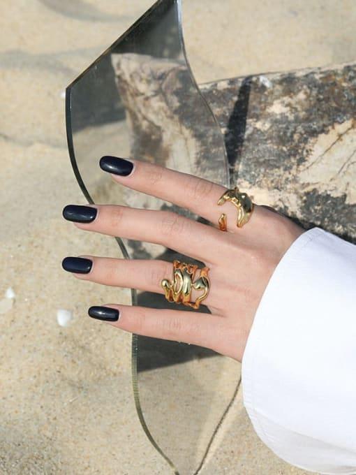 DAKA 925 Sterling Silver Hollow Irregular Vintage Stackable Ring 2