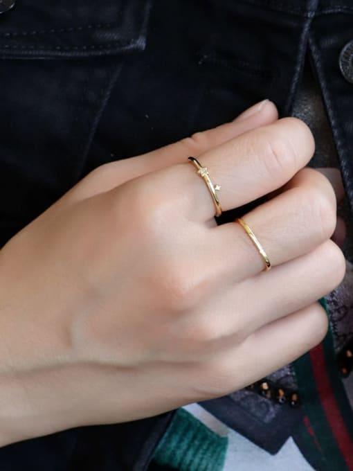 CHARME Brass Cubic Zirconia Irregular Minimalist Band Ring 2