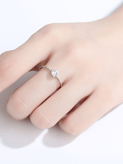 CCUI 925 Sterling Silver Cubic Zirconia Heart Minimalist Band Ring 1