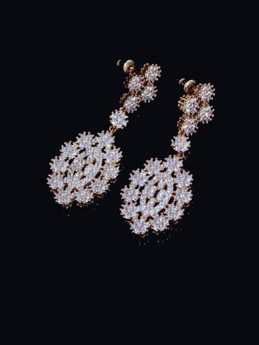 L.WIN Brass Cubic Zirconia Geometric Luxury Cluster Earring 0