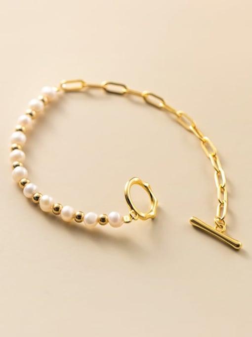Rosh 925 Sterling Silver Freshwater Pearl Geometric Minimalist Beaded Bracelet 3