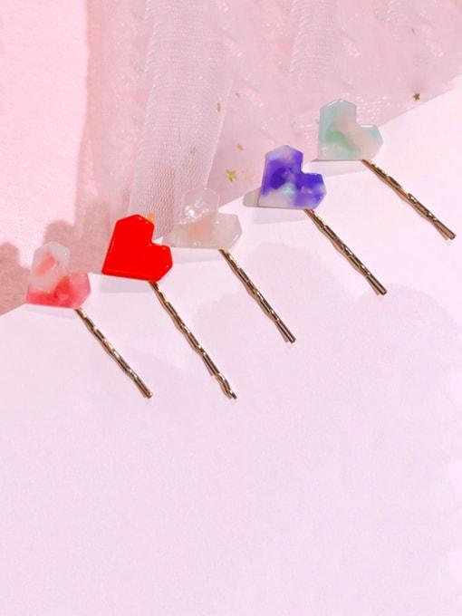 Chimera Alloy Cellulose Acetate Minimalist Heart  Hair Pin 0