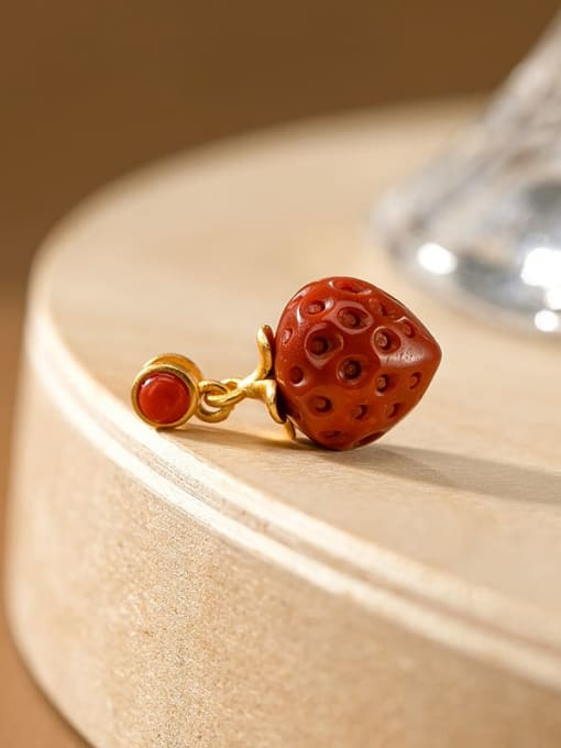 No.1 (excluding chain) 925 Sterling Silver Carnelian Cute Friut  Strawberry Pendant
