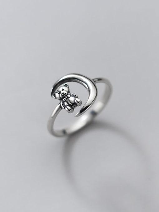 Rosh 925 Sterling Silver Bear Vintage Band Ring 0