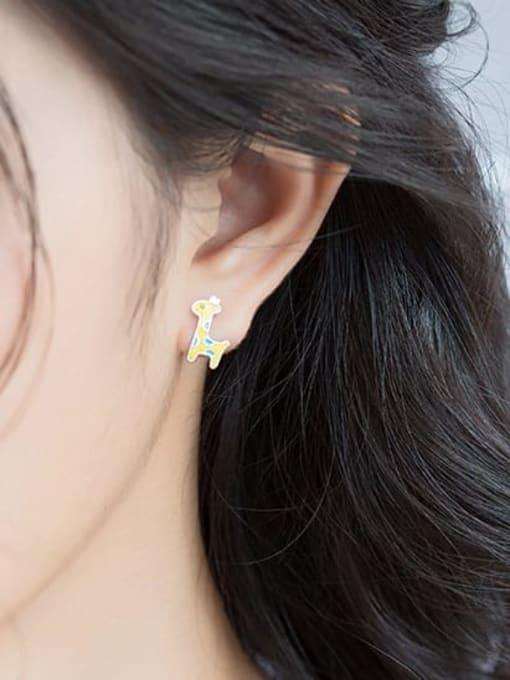 Rosh 925 Sterling Silver Enamel Deer Cute Stud Earring 2