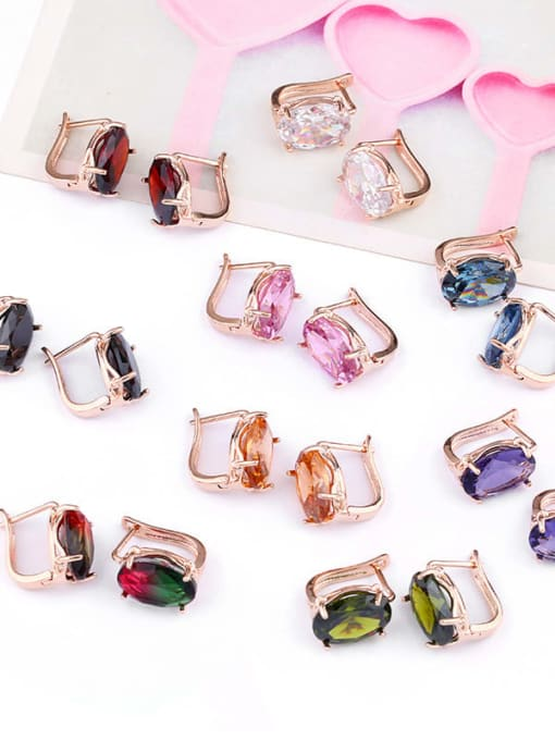 CC Alloy Glass Stone Rosary Bohemia Stud Earring