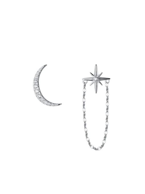 Rosh 925 Sterling Silver Cubic Zirconia Asymmetry Moon Tassel Minimalist Huggie Earring 4