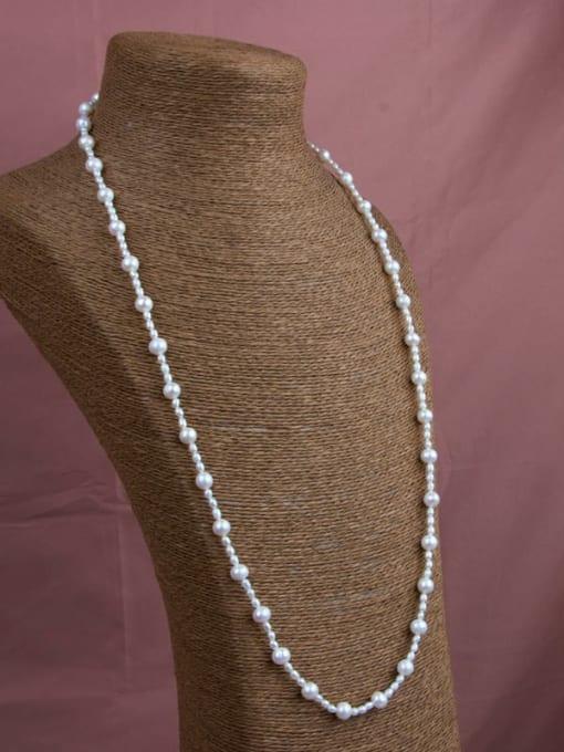 RAIN Brass Freshwater Pearl Geometric Minimalist Long Strand Necklace