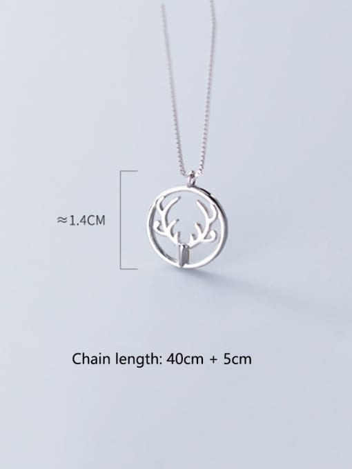 Rosh 925 Sterling Silver Simple Round  antlers  Necklace 3