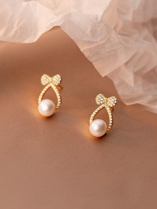 gold 925 Sterling Silver Cubic Zirconia Cross Minimalist Stud Earring