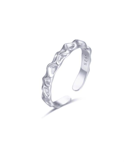 Boomer Cat 925 Sterling Silver Irregular Minimalist Band Ring