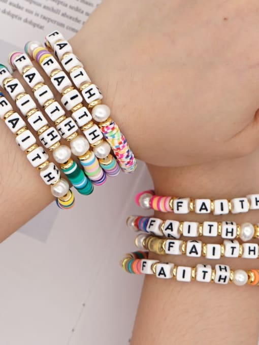 Roxi Stainless steel Multi Color Polymer Clay Letter Bohemia Stretch Bracelet 1
