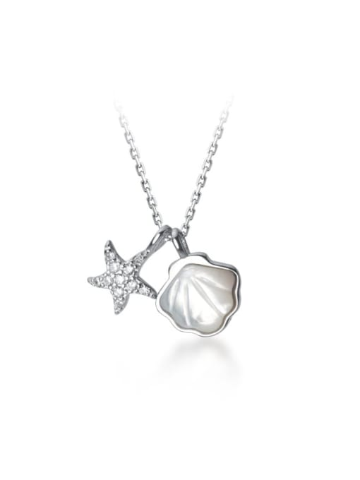 Rosh 925 Sterling Silver Cubic Zirconia Star Minimalist Necklace 4