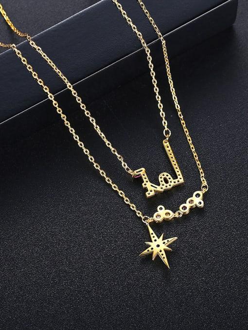 BLING SU Brass Cubic Zirconia Star Dainty Multi Strand Necklace 2