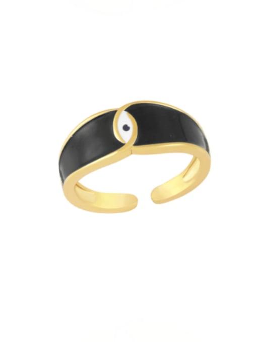 black Brass Enamel Evil Eye Minimalist Band Ring