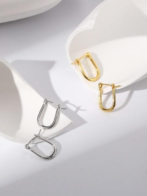 CHARME Brass Hollow  Geometric Minimalist Stud Earring 1