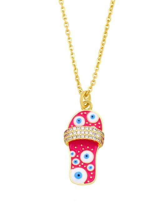 B (Rose) Brass Cubic Zirconia Enamel Irregular Vintage Necklace