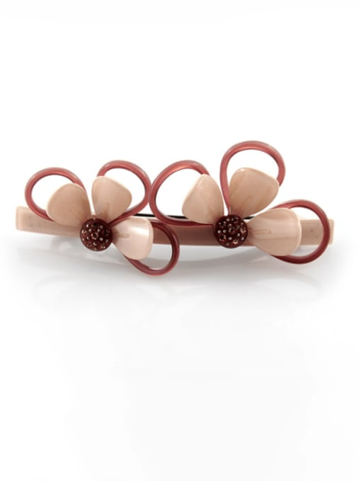 Naked Pink Cellulose Acetate Minimalist Flower Zinc Alloy  Spring clip Hair Barrette