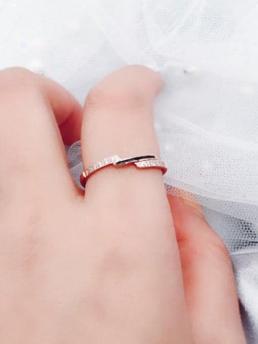 MIYA Titanium Steel Enamel Rhinestone Irregular Minimalist Band Ring 2