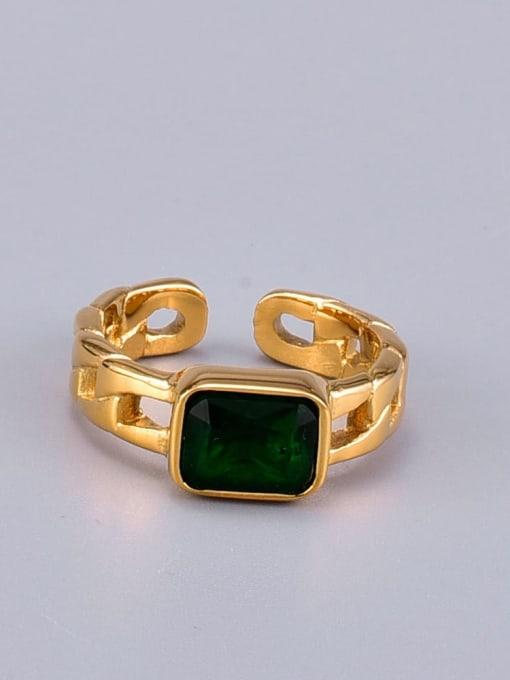 A TEEM Titanium Glass Stone Square Minimalist Band Ring 4