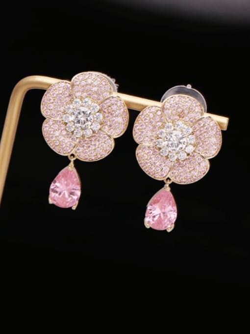 Luxu Brass Cubic Zirconia Flower Statement Drop Earring