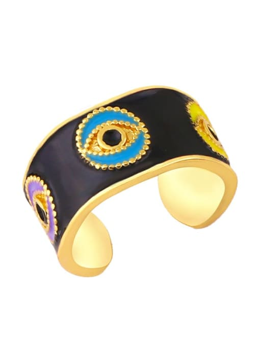 black Brass Enamel Hip Hop Band Ring