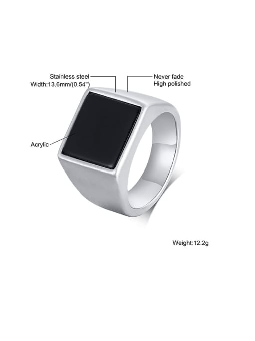 CONG Stainless steel Acrylic Geometric Vintage Band Ring 2