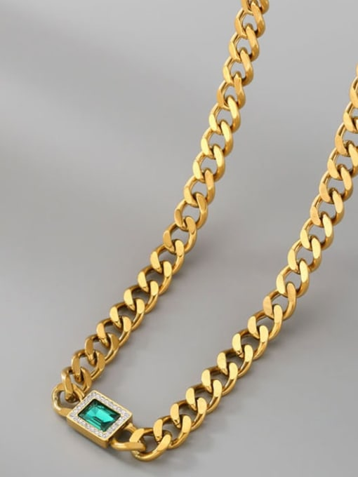 A TEEM Titanium Steel Cubic Zirconia Geometric Vintage Necklace 0