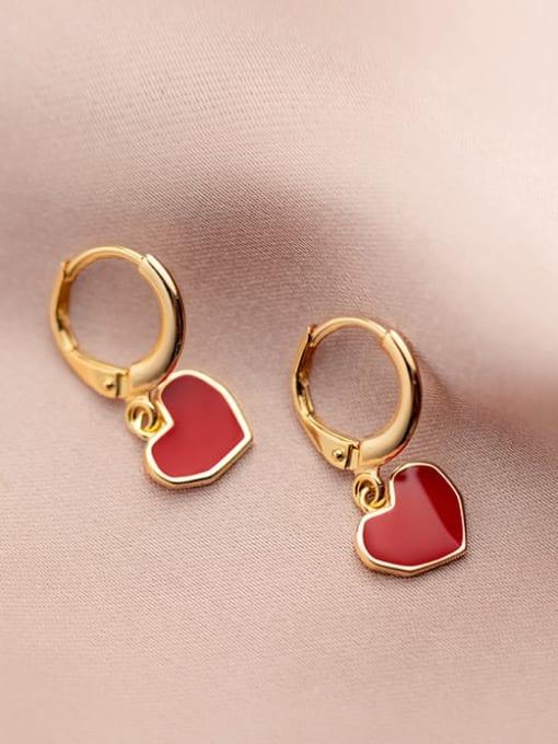 Rosh 925 Sterling Silver Enamel Heart Minimalist Huggie Earring 1
