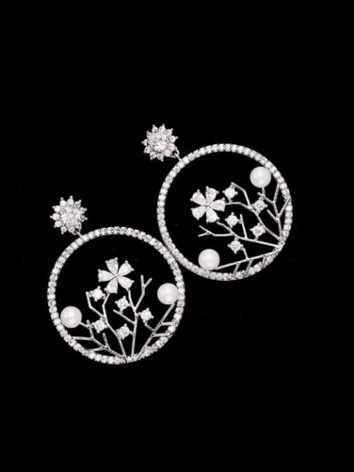 platinum Brass Cubic Zirconia Flower Trend Drop Earring