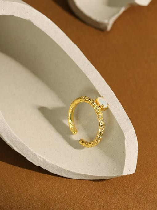 Dak Phoenix 925 Sterling Silver Opal Geometric Minimalist Band Ring 1