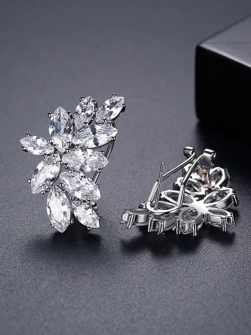 BLING SU Copper Cubic Zirconia Flower Luxury Cluster Earring 2