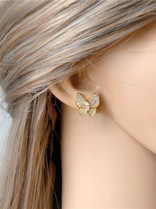 DUDU Brass Cubic Zirconia Butterfly Dainty Stud Earring 1