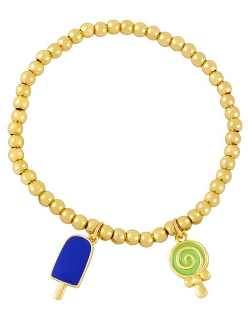 Dark blue green Brass Enamel Heart Vintage Beaded Bracelet