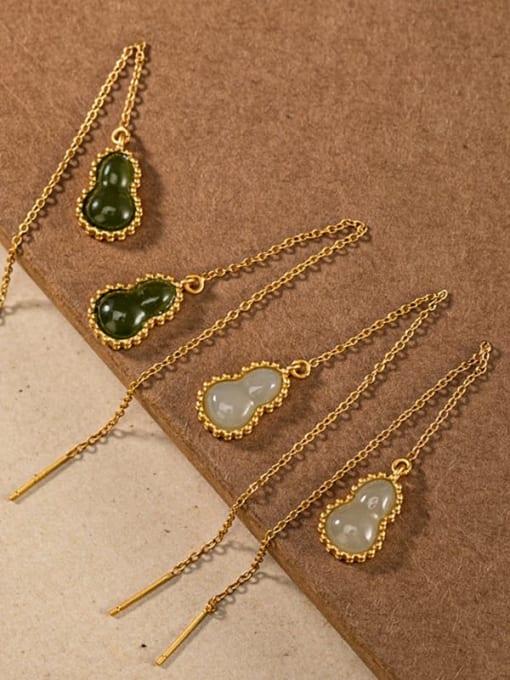 DEER 925 Sterling Silver Jade Irregular Vintage Threader Earring 0