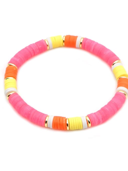 QT B200167H Stainless steel Multi Color Polymer Clay Letter Bohemia Stretch Bracelet