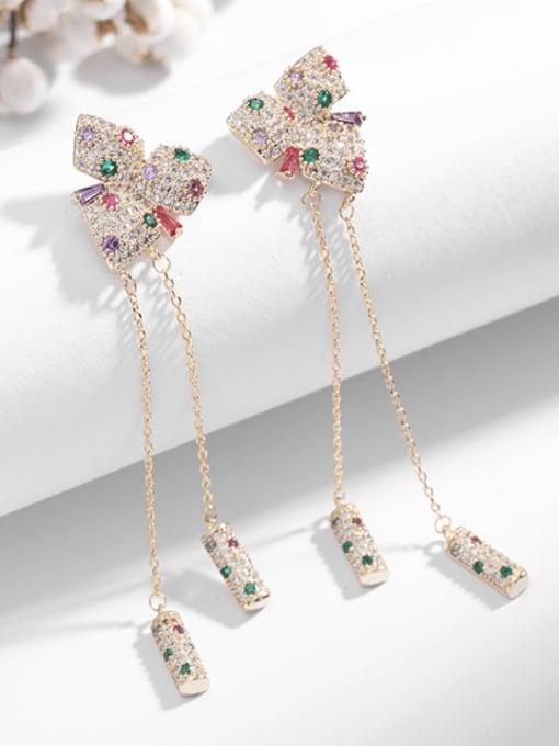 Luxu Brass Cubic Zirconia Butterfly Tassel Trend Drop Earring 3