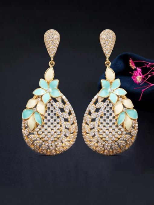 Golden green Brass Cubic Zirconia Flower Luxury Drop Earring